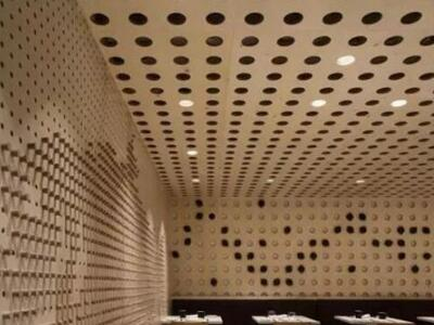 铝单板厂冲孔铝单板天花高级餐厅圆形孔铝单板吊顶