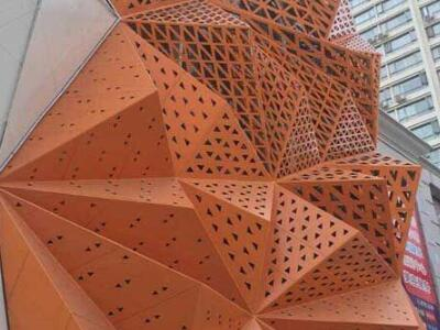 异形铝单板厂冲孔造型铝单板氟碳商场外墙锥形铝单板