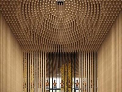铝圆管吊顶 木纹铝圆管天花 办公室吊顶
